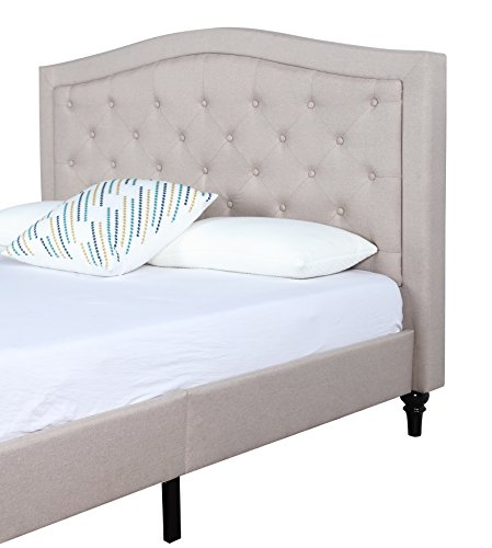 Classic Dark Ivory Color Box-Tufted Fabric Bed Frame (King)