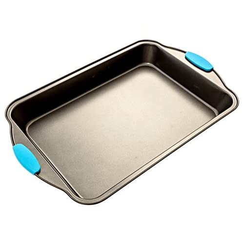 Bakeware Set -Premium Nonstick Baking Pans -Set of 4- ligh blue Silicone Handles includes a Pie Pan, a Square cake pan, Baking Pan, a Bread Pan, By Intriom Blue Collection (Set of 4)