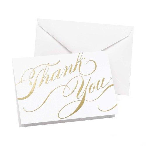 Wedding Thank You Notes - Hortense B Hewitt Gold Unending Gratitude Thank You Cards, 50-Pack
