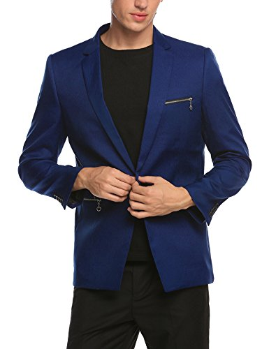 (COOFANDY Men's Suit Jacket Slim Fit Casual One Button Blazer Jacket Navy Blue)