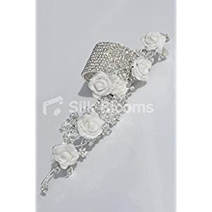 Silk Blooms Ltd White Foam Rose Artificial Wrist Corsage with Crystal Detailing and Bracelet 3