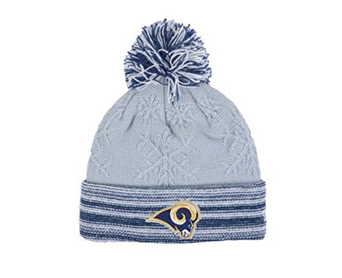 Los Angeles Rams Women's Knit Beanie With Pom Hat Cap - Gray And Blue by New Era Cap Company, Inc.