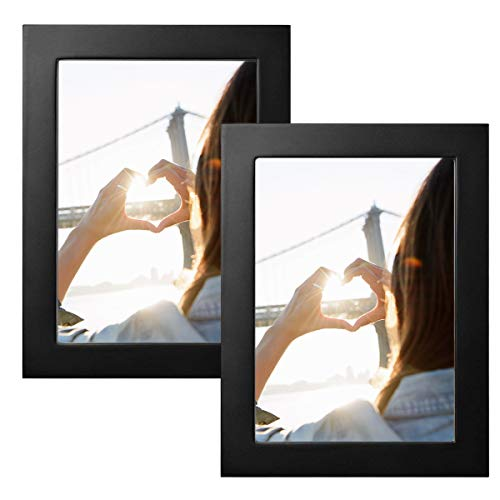 Klinsten 5x7 Picture Frame Black Wood Elegant Design 5x7 Photo Display Photo Frame for Desk or Wall 2 Pack