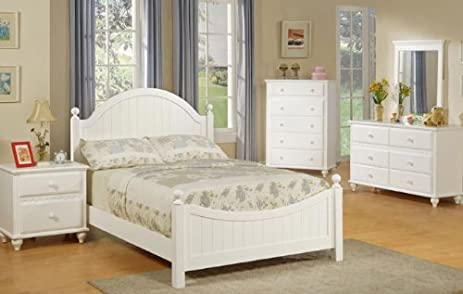 Amazon.com: 4pcs Twin Size Bedroom Set - Cape Cod Style White ...