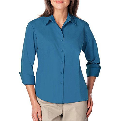 - Blue Generation BG6260 - Ladies 3/4 Sleeve Easy Care Poplin with Matching Buttons (3XL, Turquoise)