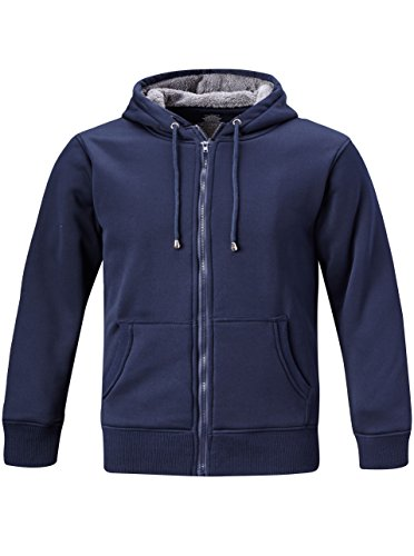 Geek Lighting Mens Full Zip Outdoor Warm Thick Fleece Hoodie Jacket Navy Blue X-Large (Tag - Geek Thick