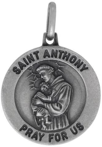 Solid 925 Sterling Silver Vintage Antiqued Catholic Patron Saint Anthony Pendant Charm Medal 27mm x 18mm