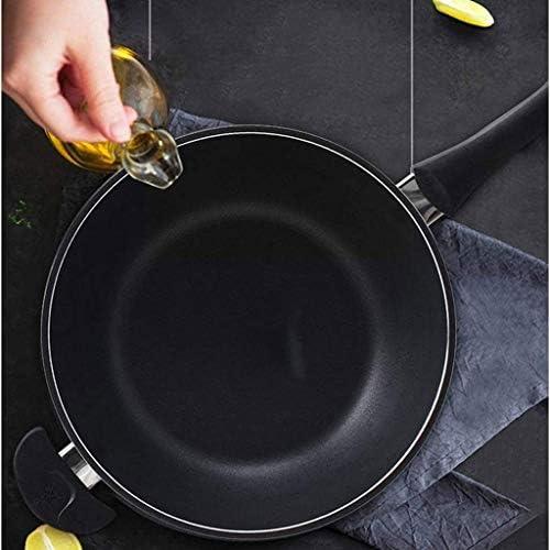 YWSZJ Antiadhésives wok et Poêle à frire avec couvercle en verre en aluminium forgé avec rayures résistant