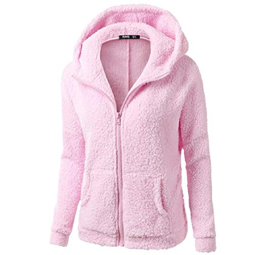 Faux-Fur Hoodies Tops for Women Long Sleeve Pure Color Zipper Jackets Windproof Coat with Pockets Warm Gifts Pink