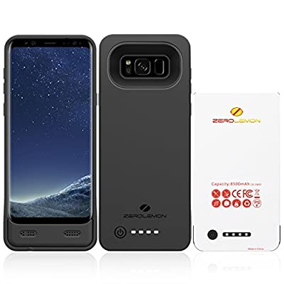 Galaxy S8 Plus Battery Case, ZeroLemon Ultra Power 8500mAh Extended Battery Case with Soft TPU Full Edge Protection Case for Samsung Galaxy S8 Plus(NOT for Galaxy S8)– Black