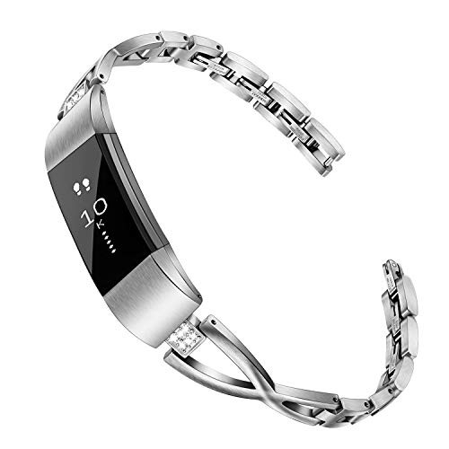 for Fitbit Alta Women Bands, TRUMiRR Jewelry Bangle Rhinestone Diamond Watchband Stainless Steel Watch Strap Feminine Metal Wrist Bracelet for Fitbit Alta/Alta HR/Alta Ace