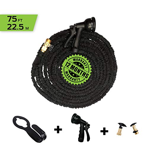 GadgetImagine Expandable Garden Hose - 75FT with Double Layer Latex Core and Brass connectors - Bonus 8 Function Spray Nozzle and Hose Wall Mount Included