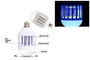 vetrineinrete® Bombilla LED anti mosquitos doble función 2en 1E2710W con Luz Azul Fulmina Moscas Mosquitos y Insectos lámpara Mosquitera Mosquito Killer B18