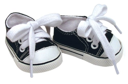 Fits American Dolls Black Doll Sneakers, 1 Pr. of 18 Inch Doll Kicks (Black Doll Shoes)