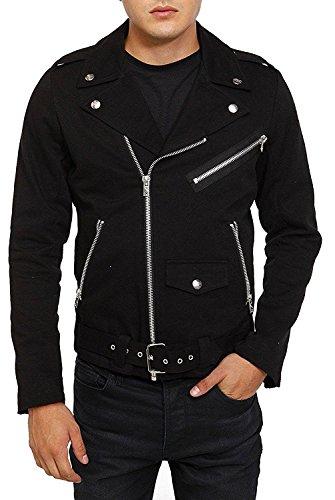 Denim Biker Jacket (Tripp Gothic Motorcycle Biker Heavy Metal Moto Punk Rocker Denim Coat Jacket (M))