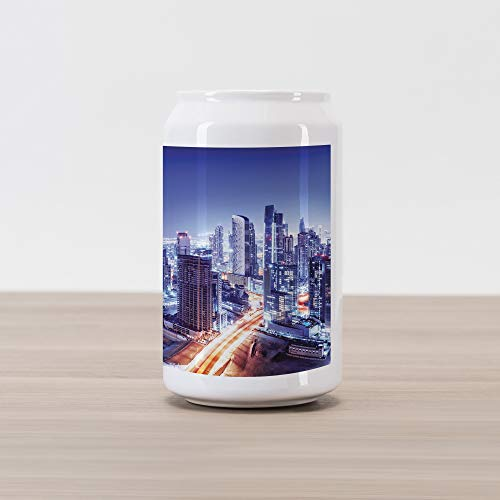 - Lunarable Scenery Cola Can Shape Piggy Bank, Metropolitan City Life with Buildings Living Town with Roads Landscape Picture, Ceramic Cola Shaped Coin Box Money Bank for Cash Saving, Multicolor