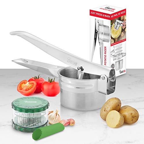 CHEFHQ Potato Ricer Set with Garlic Cutter and Peeler - Stainless Steel Food Press Strainer for Mashed Potatoes and Cauliflower Rice - Baby Food Mill Masher - Spaetzle Noodle Maker - 3 Disk Ricers