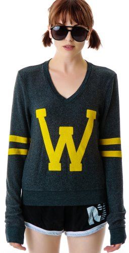 Wildfox Women's Letterman Baggy Beach Sweatshirt, Clean Black, X-Small