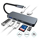 USB C Hub, Aluminium Alloy 7-in-1 Multi-Port Type C Adapter with PD Power Delivery, 4K HDMI, 3 USB Ports, SD/TF Card Reader for Notebook/Tablet/PC/Phone/MacBook/MacBook Pro and More USB C Devices