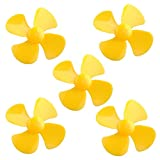 Flormoon Motor Propeller with Four-vane for Fan Leaves Ship Model DIY Airplane in Yellow 5 Pack