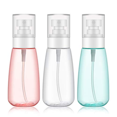 3pcs Fine Mist Spray Bottles, Segbeauty 3.4oz/100ml Airless Cosmetic Spray Bottle Empty Clear Refillable Travel Containers Water Mister for Cosmetic Skincare Makeup Setting -