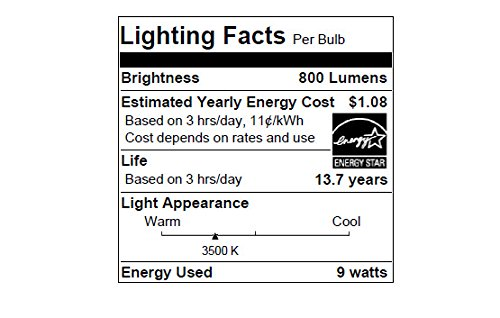 Sylvania Home Lighting 78038 A19 Sylvania Ultra 60W Equivalent LED Light Bulb, Dimmable, 60W Equivalent (Efficient 9W), Bright White 3500K , 4 Piece