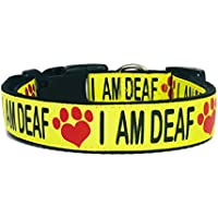 I AM DEAF Dog Collar, Deaf Dog, Safety, Awareness, Special Needs Dog, Help Prevent Accidents by letting others know your dogs is Deaf