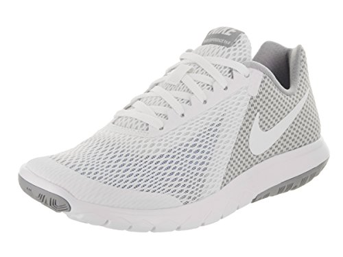 NIKE Womens Flex Experience Rn6 Fabric Low Top Lace, White/Wolf Grey, Size 6.5