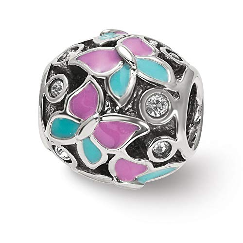 (Lex & Lu Sterling Silver Reflections Pink & Blue Enameled CZ Butterfly Bead-Prime)