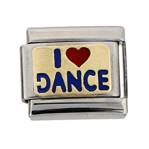 Stainless Steel 18k Gold I Love Dance Charm for Italian Charm Bracelets