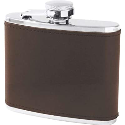 Maxam 6oz Stainless Steel Flask With Genuine Brown Leather Wrap