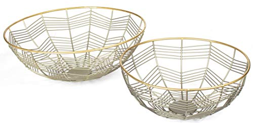 (RED FIG HOME Decorative Wire Fruit Bowl – Set of 2 - Zinc Gold Finish – Round Design Home Décor Accent & Table Centerpiece)