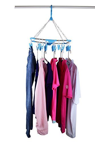 Best Price of The Ultimate Clothesline Laundry Drying Rack with 26 Clips for Clothes and Intimates in Stainless Steel by Laundry Science