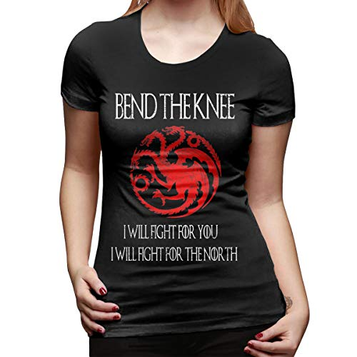 Hengteng Woman Personalized Cute Tee Game of Thrones I Will Fight When You Bend The Knee Short Sleeve Fashion T-Shirt Black S
