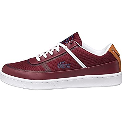 6ce9a14979aa Mens Lacoste Court Line Trainers Burgundy White Tan Guys Gents   Amazon.co.uk  Shoes   Bags
