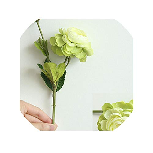 2 Heads Fake Flowers Vintage Peony Home Wedding Decoration Silk Flower Red Rose Artificial Flower Peonies Bridal Bouquet,Green
