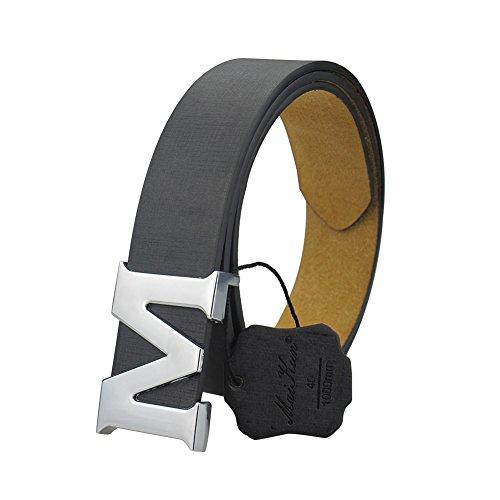(Womens Leather Belts Removable Letter M Plate Buckle Waist Belt 1.18