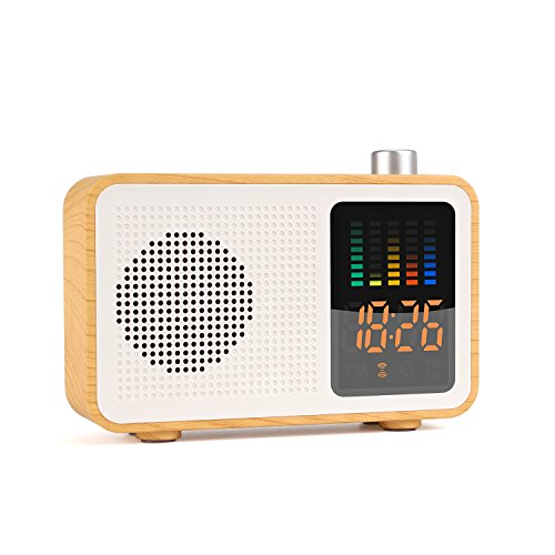 YSEECHENS Portable Bluetooth Speaker Retro FM Radio with Alarm Clock Stereo Wireless Speakers Support TF Card/AUX-in Colorful Spectrum Display (Maple Wood)