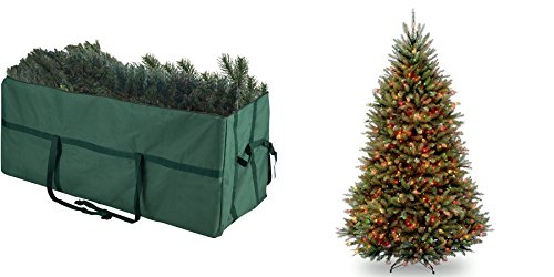 Elf Stor Heavy-duty Canvas Large Christmas Tree Storage Bag for 9' Tree plus 6.5-foot Dunhill Fir Pre-lit or Unlit Artificial Hinged Christmas Tree - multi lights (Set 5) by Elf Stor
