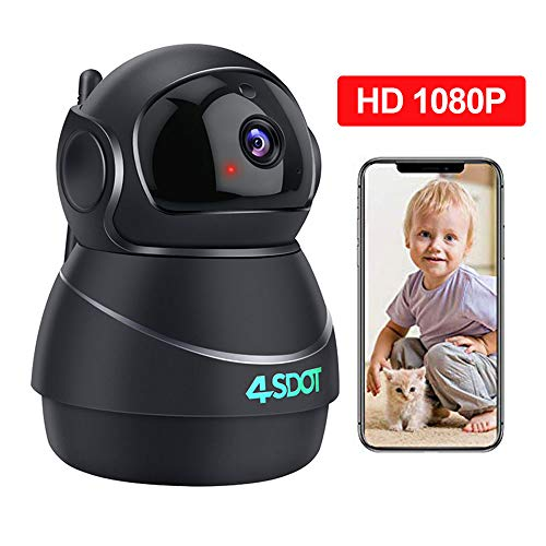 Wireless IP Camera 1080P, Nanny Cam, 360 Degree Smart WiFi Camera 3D Navigation Panorama View Night Vision, Cloud Storage, Motion Detection, Two-Way Audio Pan / Tilt / Zoom for Baby / Pet / Elder, Support SD Card