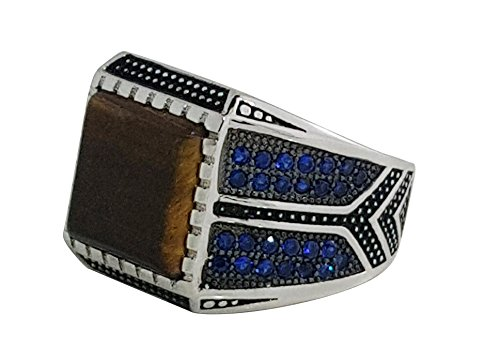 JANIZZ 925 Solid Sterling Silver Ring with Agate & Blue Cubic Zirconia in Different Sizes in A Beautiful LED Box(C130) (8)