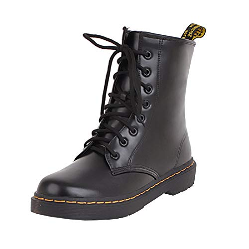 con Ankle Scarpe Autunnali Nero Boots Chiusa e Donna e Brogue Stivaletti Stringata YE Moda Tacco Basso 4HOYxtw