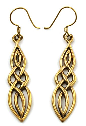 (LynnAround Bronze Filigree Celtic Knot Spiral Twisted Drop Dangle Earrings Fish Hook Vintage Thailand Jewelry)