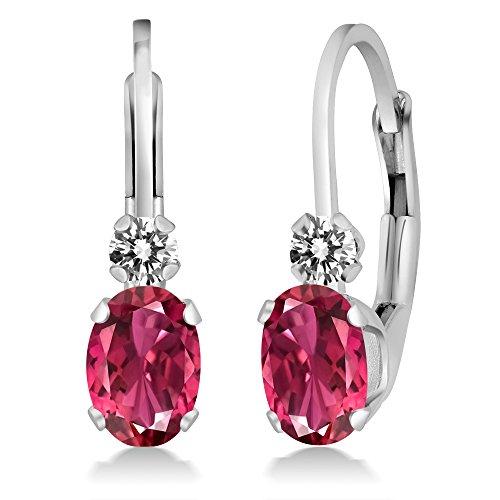 (Gem Stone King 0.83 Ct Oval Pink Tourmaline AAA White Diamond 14K White Gold Earrings)