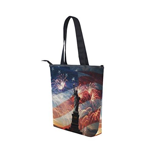 Flag Liberty American MyDaily Of Canvas Bag Fireworks Handbag Womens Statue Shoulder Tote 6x8wqR6T