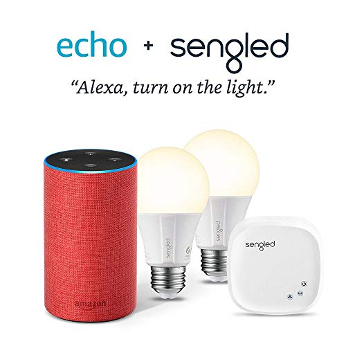 Echo (2nd Gen) – PRODUCT(RED) edition Bundle with 2 Smart Bulb Kit by Sengled