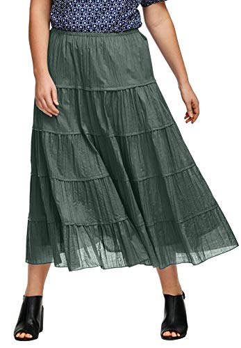 ellos Women's Plus Size Crinkled Tiered Skirt - 20, Pine