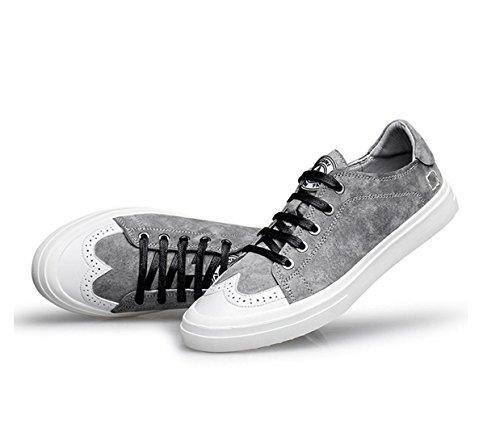 WZG los zapatos de los nuevos hombres para ayudar a los zapatos bajos ocasionales de la comodidad respirable primera capa de zapatos de cuero Grey