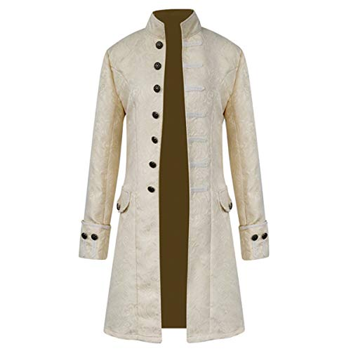 iCos Unisex Medieval Steampunk Coat Men Stand Collar Jacket Formal Halloween Costume Uniform (Medium, Jacquard Beige) -