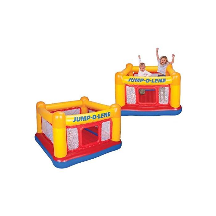 41pC9PA8NIL Adecuado para 2 niños y peso máximo 54 kg Castillo con suelo hinchable reforzado, lo que proporciona un rebote seguro Paredes hinchables altas que rodean toda la base del castillo